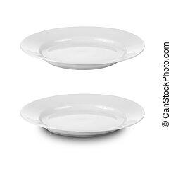 tányér, darabka, edények, elszigetelt, kerek, includ, út, fehér, vagy