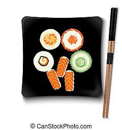 tányér, derékszögben, tenger gyümölcsei, sushi, japán, fekete