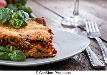 tányér, elkészített, lasagna, friss