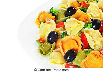 tányér, elkészített, saláta, bors, olajbogyó, brokkoli, piros, tortellini