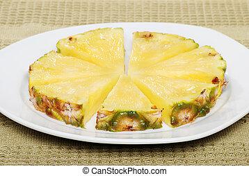 tányér, elvág, ananász