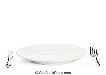 tányér, fehér, evőeszköz, háttér