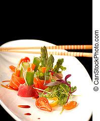tányér, fehér, japán, sashimi