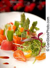 tányér, fehér, japaneses, saláta, sashimi