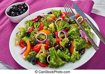 tányér, healty, saláta, brokkoli