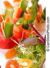 tányér, japán, sashimi, closeup, friss, fehér