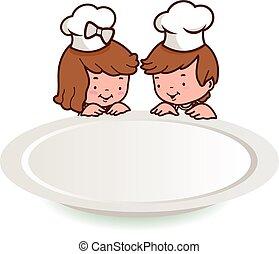tányér., konyhafőnökök, ábra, vektor, gyerekek, üres