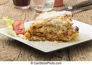 tányér, lasagna, fehér