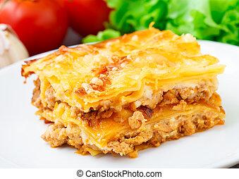 tányér, lasagna, olasz
