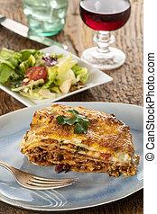 tányér, lasagna, porció