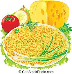 tányér, növényi, spagetti