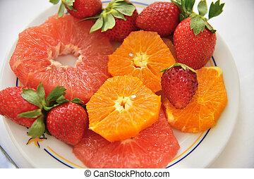tányér, narancs, földieprek, szelet, grapefruit