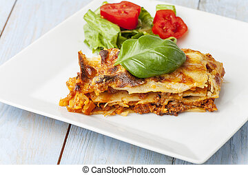 tányér, olasz, lasagna, friss