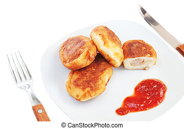 tányér, patties, lunch., hús, close-up.