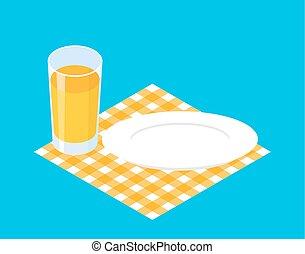 tányér., pohár, ábra, lé, vektor, reggeli, template., üres