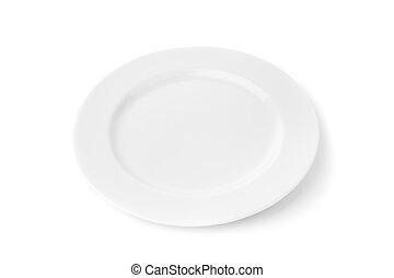 tányér, porcelán, fehér, háttér., táplálék.