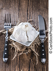 tányér, porció, fokhagyma