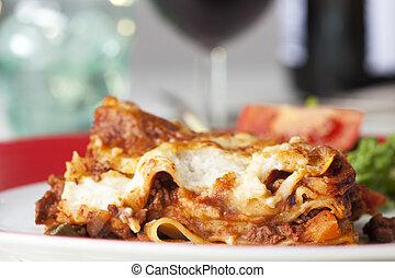 tányér, porció, klasszikus, olasz, lasagna
