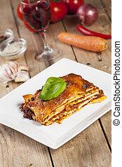 tányér, porció, lasagna, fehér