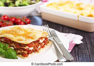 tányér, porció, lasagna, házi készítésű