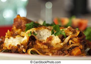 tányér, porció, lasagna, klasszikus, olasz