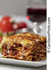 tányér, porció, lasagna