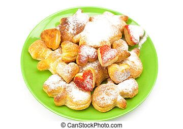tányér, süti, elszigetelt, cukor, porított, fehér