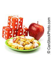 tányér, süti, elszigetelt, tehetség, alma, fehér