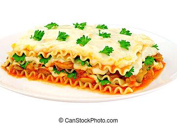 tányér, szelet, lasagna, finom