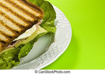 tányér, szendvics