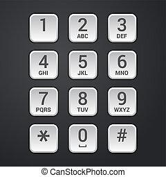 tányér, tárcsa, keypad, zár, telefon, vektor, digitális, biztonság, vagy