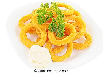 tányér, vöröshagyma, hát, petrezselyem, gyűrű, majonéz, sült, fehér