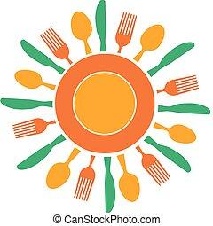 tányér, villa, nap, szervezett, sárga, kés, szeret