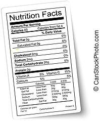 táplálás, vector., kövér, highlighted., label., tény