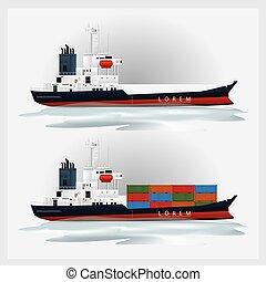 tároló, rakomány, vektor, hajózás, ábra