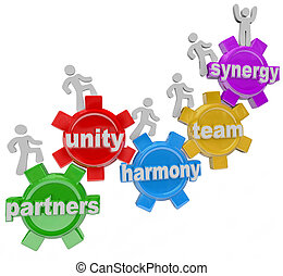 társ, dolgozó, siker, együtt, synergy, csapatmunka