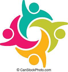 társadalmi, csoport, 4, teammates, emberek