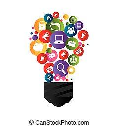 társadalmi, fény, média, gumó, ikonok