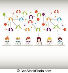 társadalmi, hálózat, média, emberek