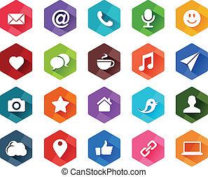 társadalmi, lakás, média, ikonok