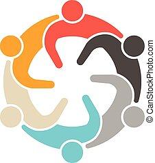 társadalmi, logo., emberek, gyűlés, 6