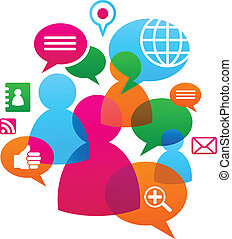 társadalmi, média, backgound, hálózat, ikonok
