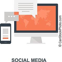 társadalmi, média, fogalom, ikon