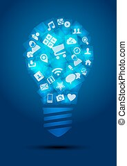 társadalmi, média, gumó, fény, gondolat, fogalom