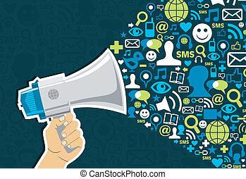 társadalmi, média, marketing