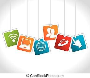 társadalmi, média, vektor, illustration., tervezés