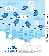 társadalmi, madarak, hálózat, háttér, ikonok
