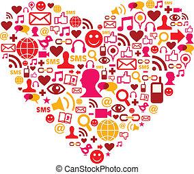 társadalmi, szív alakzat, média, ikonok