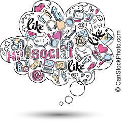 társadalmi, szórakozottan firkálgat, infographics, média