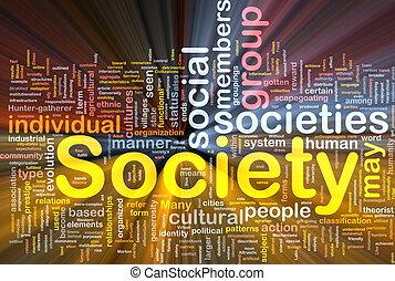 társadalom, izzó, fogalom, háttér